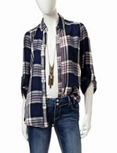 Heart Soul 2-pc. Multicolor Plaid Print Necklace Top Set