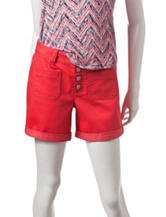 Signature Studio Red Button Front Shorts