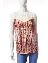 Jessica Simpson Noni Crochet Yoke Printed Woven Top