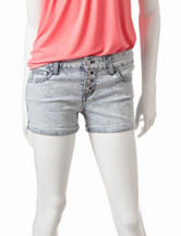 Celebrity Pink Black Acid Wash Railroad Striped Print Denim Shorts