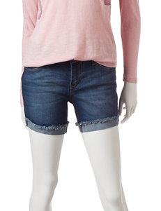 Celebrity Pink Solid Color Flip Cuff Denim Shorts