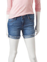 Celebrity Pink Solid Color Flip Cuff Denim Shorts