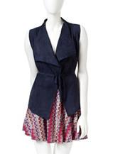 Romeo + Juliet Couture Navy Faux Suede Vest