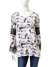 Romeo + Juliet Couture Black & White Tie-Dye Print Tunic Top