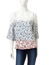 Romeo + Juliet Couture Floral Colorblock Cold Shoulder Top