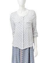 Romeo + Juliet Couture Diamond Print Woven Top