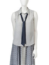 Romeo + Juliet Couture Diamond Print Neck Tie Top