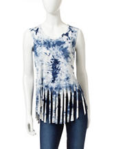 Romeo + Juliet Couture Tie Dye Print Fringe Top