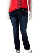 Amethyst Junior-plus Dark Wash Sequin Embellished Bootcut Jeans