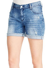 Jessica Simpson Monroe Acid Wash Boyfriend Denim Shorts