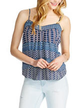 Jessica Simpson Tonal Blue Twin Print Top