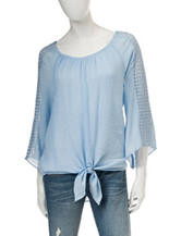 A. Byer Light Blue Tie-Front Peasant Top