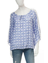 A. Byer Blue & White Diamond Print Peasant Top