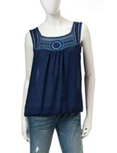 A. Byer Navy Embroidered Yoke Top