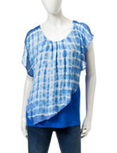 A. Byer Blue & White Tie Dye Print Layered-Look Top