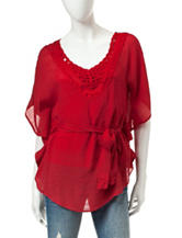 A. Byer Red Crochet Accented Gauze Top