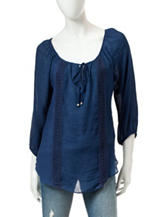 A. Byer Navy Peasant Top