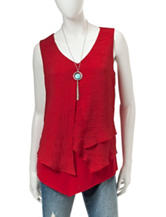 A. Byer Red Layered-Look Necklace Top