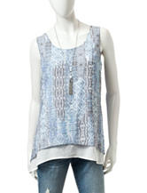 A. Byer Tonal Blue Aztec Print Layered-Look Top