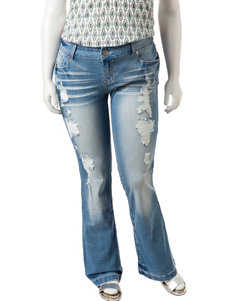 Amethyst Juniors-plus Light Wash Flare Jeans