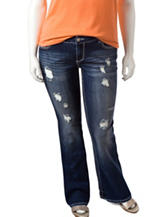 Amethyst Juniors-plus Dark Wash Distressed Flare Jeans