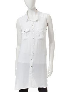 Signature Studio White Button Front Tunic Top
