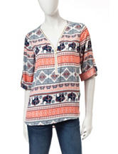 Wishful Park Multicolor Chiffon Elephant Print Top
