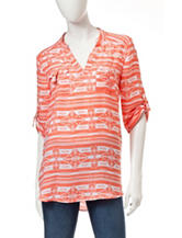 Wishful Park Coral & White Tribal Print Top