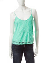 Wishful Park Solid Color Medallion Lace Overlay Top
