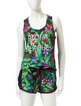 Almost Famous Multicolor Aloha Beaches Tropical Print Mesh Tank