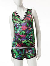 Almost Famous Multicolor Tropical Print Mesh Hoodie