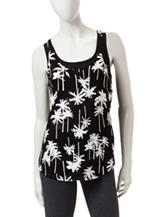 Miss Chevious Black & White Palm Tree Print Tank Top