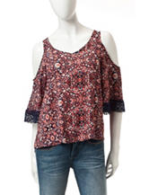 Eyeshadow Multicolor Boho Floral Print Top