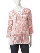 Signature Studio Pink & Ivory Patchwork Print Tunic Top