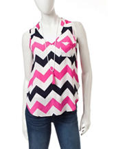 Wishful Park 2-Tone Chevron Print Top with Necklace