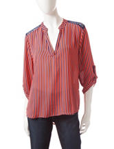 Wishful Park Coral & Navy Striped Popover Top