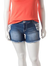 Amethyst Light Wash Crochet Accented Denim Shorts