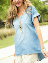 Self Esteem Chambray Woven Hi-Lo Top
