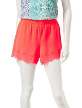 Heart Soul Coral Woven Laser Cut Shorts