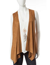 Heart Soul 2-pc. Faux Suede Vest & White Top Set