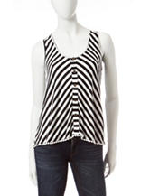 My Michelle Black & White Striped Print Lace Back Top