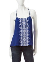 My Michelle Cobalt Blue Aztec Embroidery Top