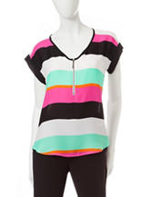 My Michelle Multicolor Striped Print Zippered Top