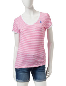 U.S. Polo Assn. Pink & White Micro Striped Print Top