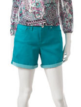 Signature Studio Solid Color Turquoise Roll-Cuff Short