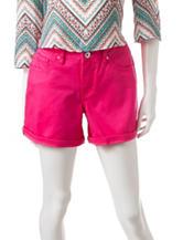 Signature Studio Solid Color Hot Pink Roll-Cuff Shorts