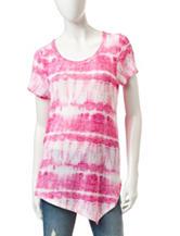 Signature Studio Fuchsia & White Tie-Dye Print Asymmetrical Top