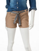 BeBop Solid Color Woven Belt Shorts