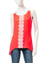 Heart Soul Neon Coral Lace Front Sharkbite Top