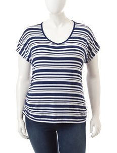 Wishful Park Juniors-Plus Navy & White Striped Top